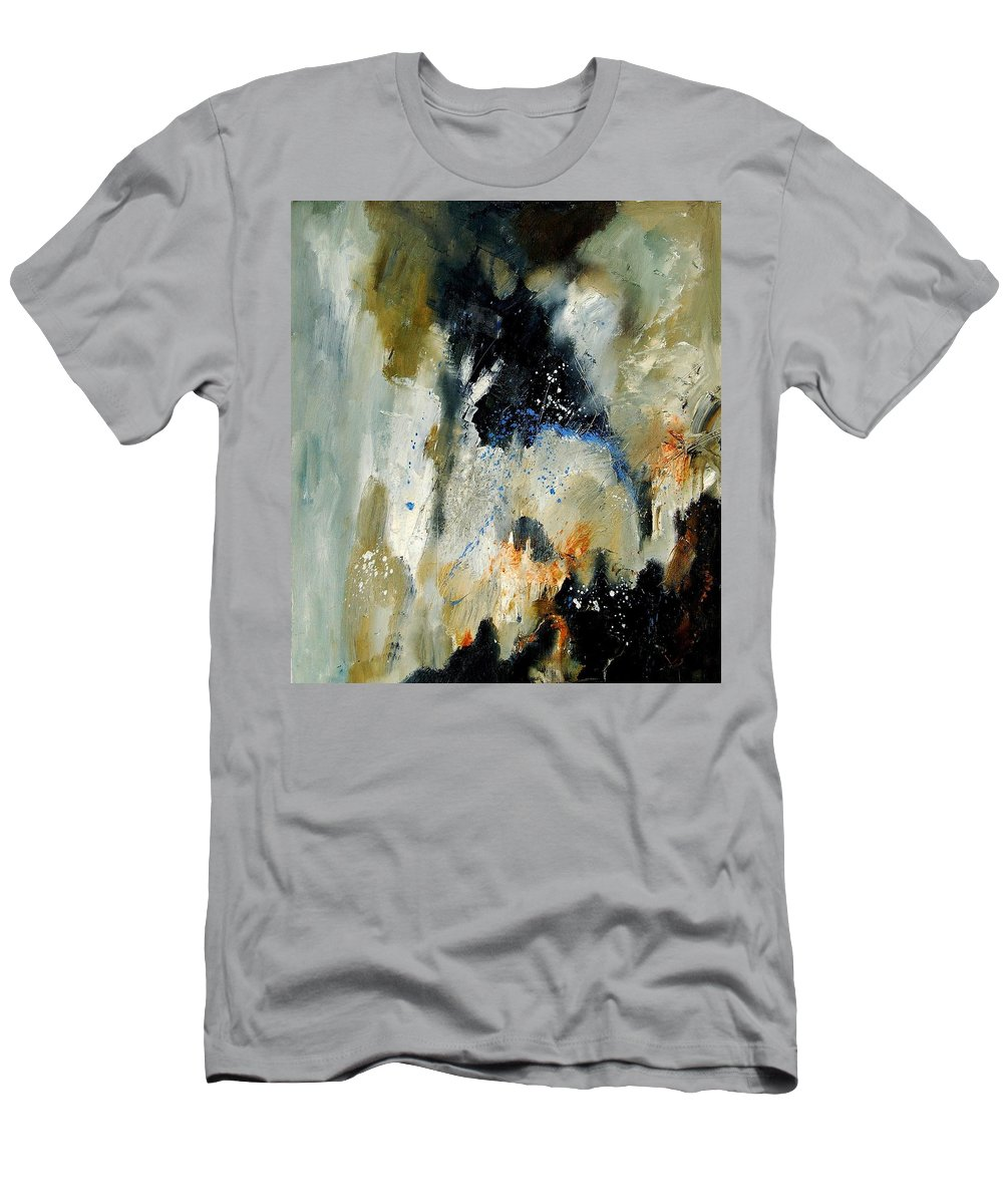 Abstarct Men's T-Shirt (Athletic Fit) featuring the painting Abstract 070808 by Pol Ledent