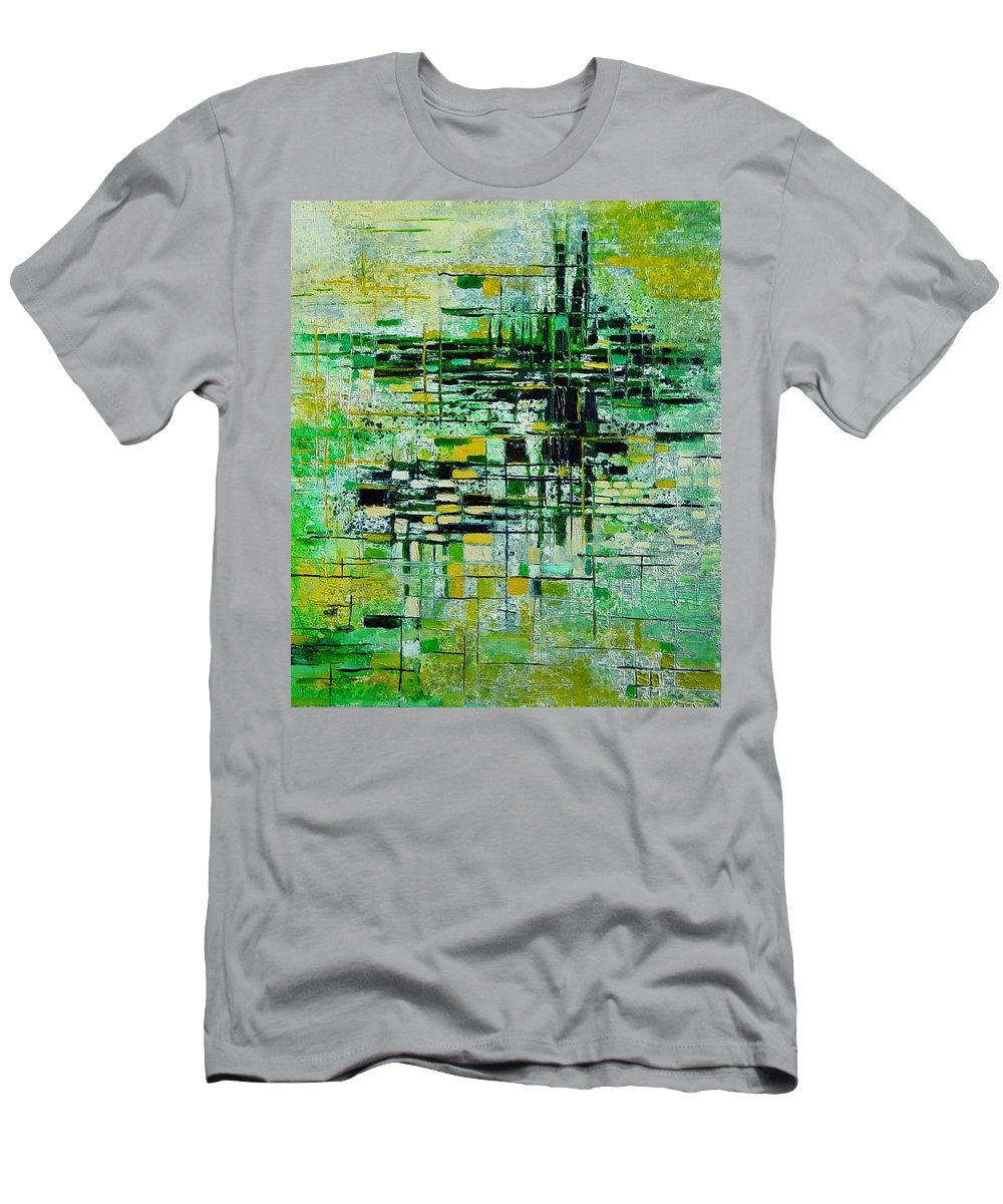 Abstract Men's T-Shirt (Athletic Fit) featuring the painting Abstract 5 by Pol Ledent