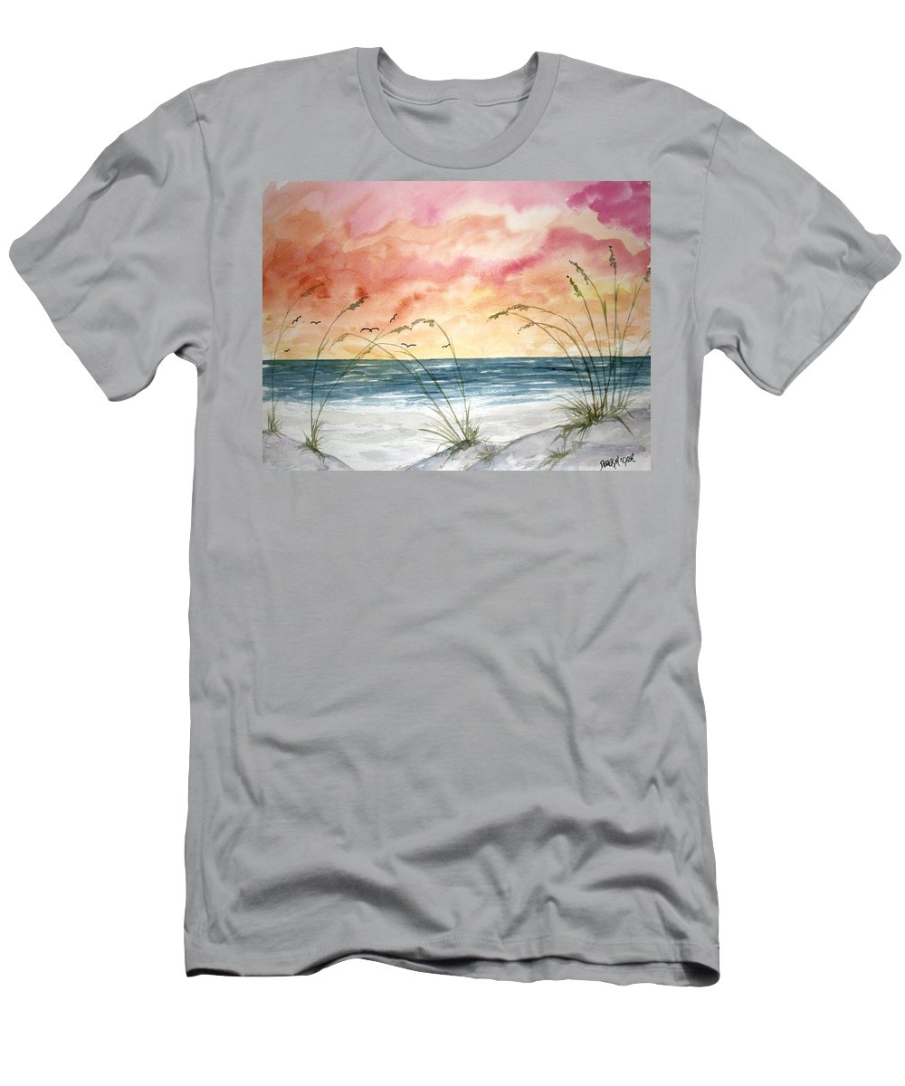 Abstract Men's T-Shirt (Athletic Fit) featuring the painting Abstract Beach Painting by Derek Mccrea