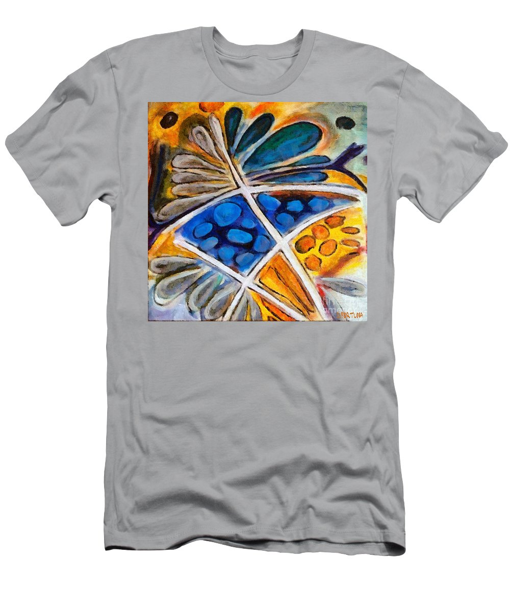 Flower Men's T-Shirt (Athletic Fit) featuring the painting Abstract Flower by Dragica Micki Fortuna