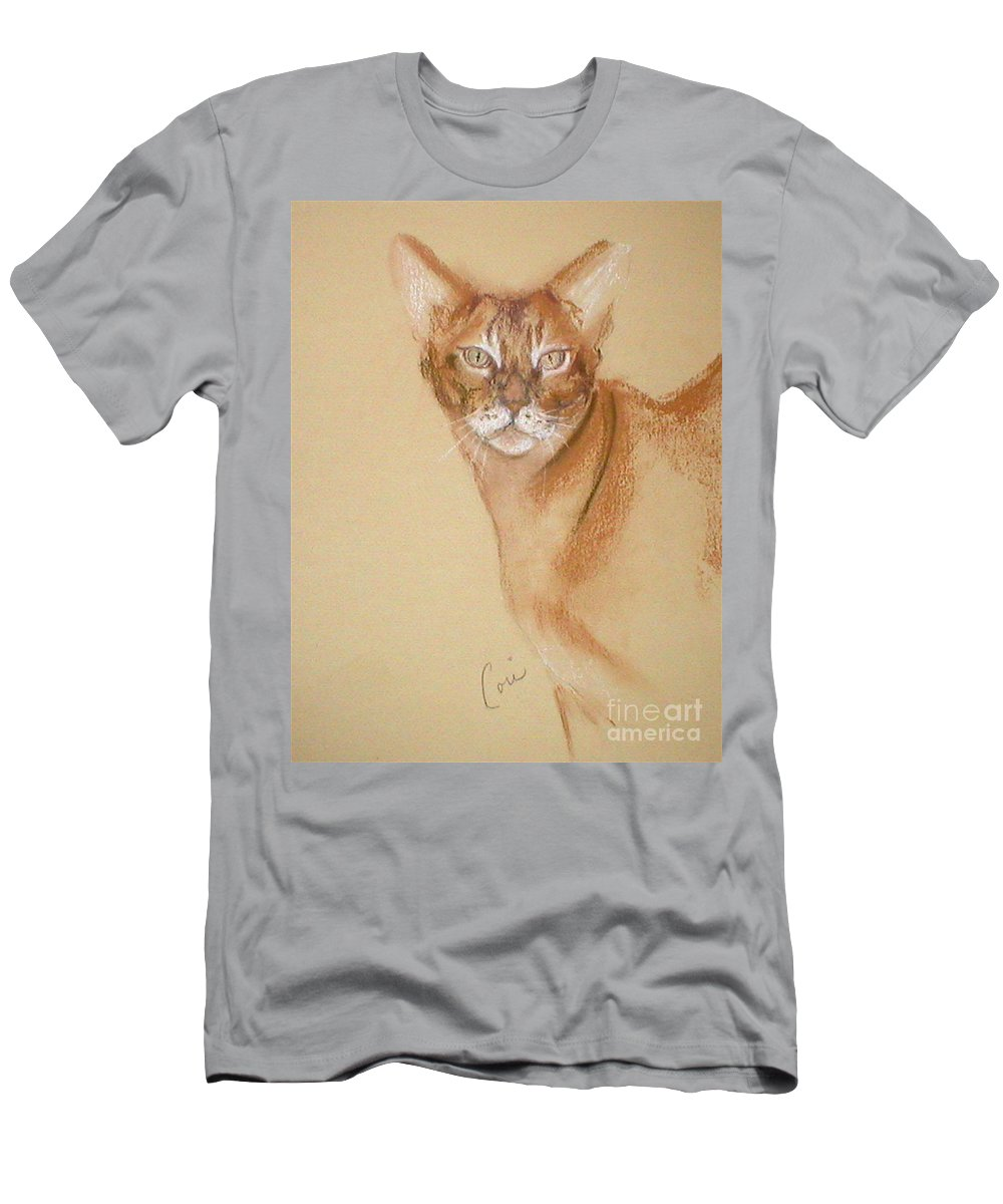 Pastel T-Shirt featuring the drawing Abyssinian by Cori Solomon