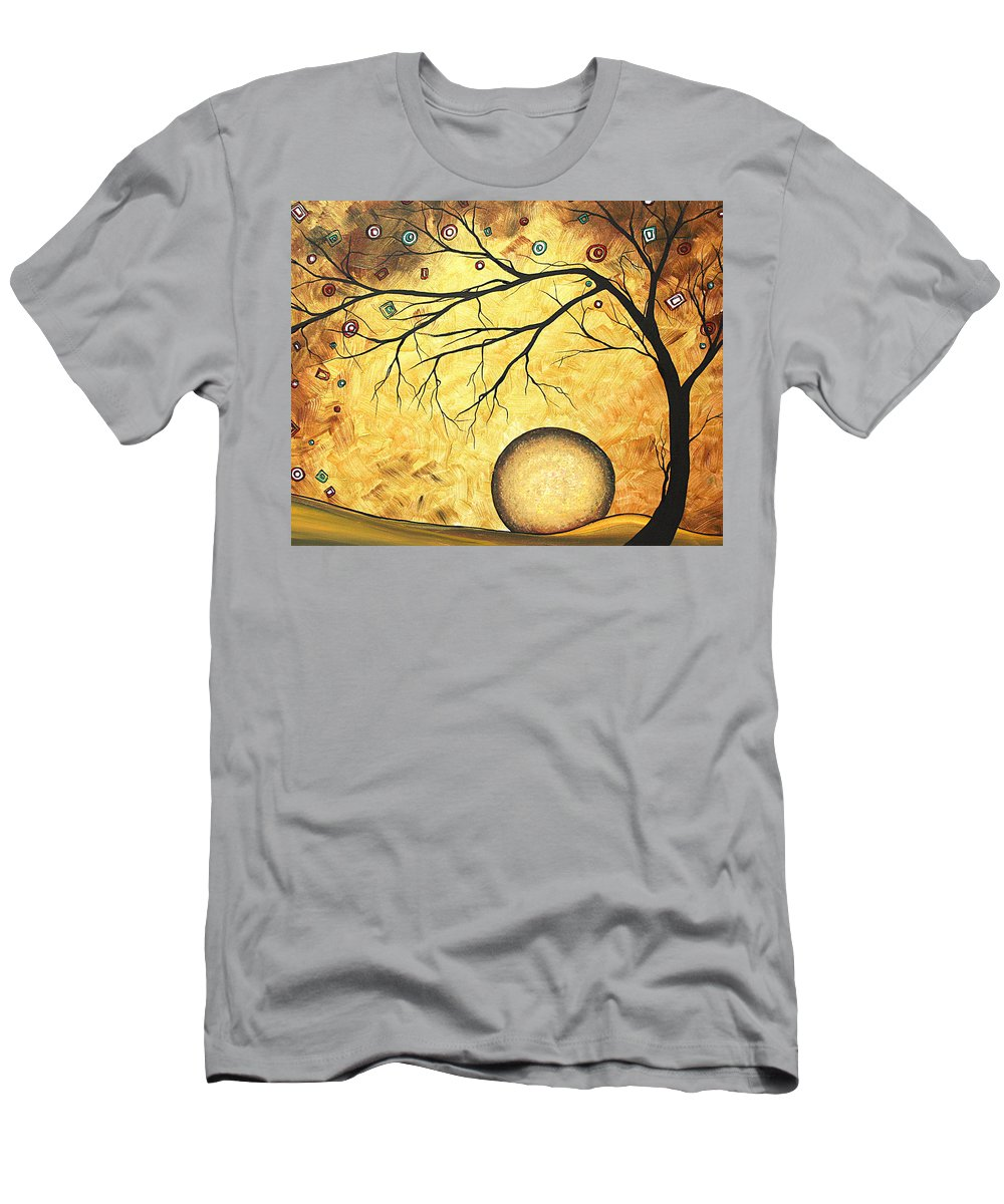 Art Men's T-Shirt (Athletic Fit) featuring the painting Across The Golden River By Madart by Megan Duncanson