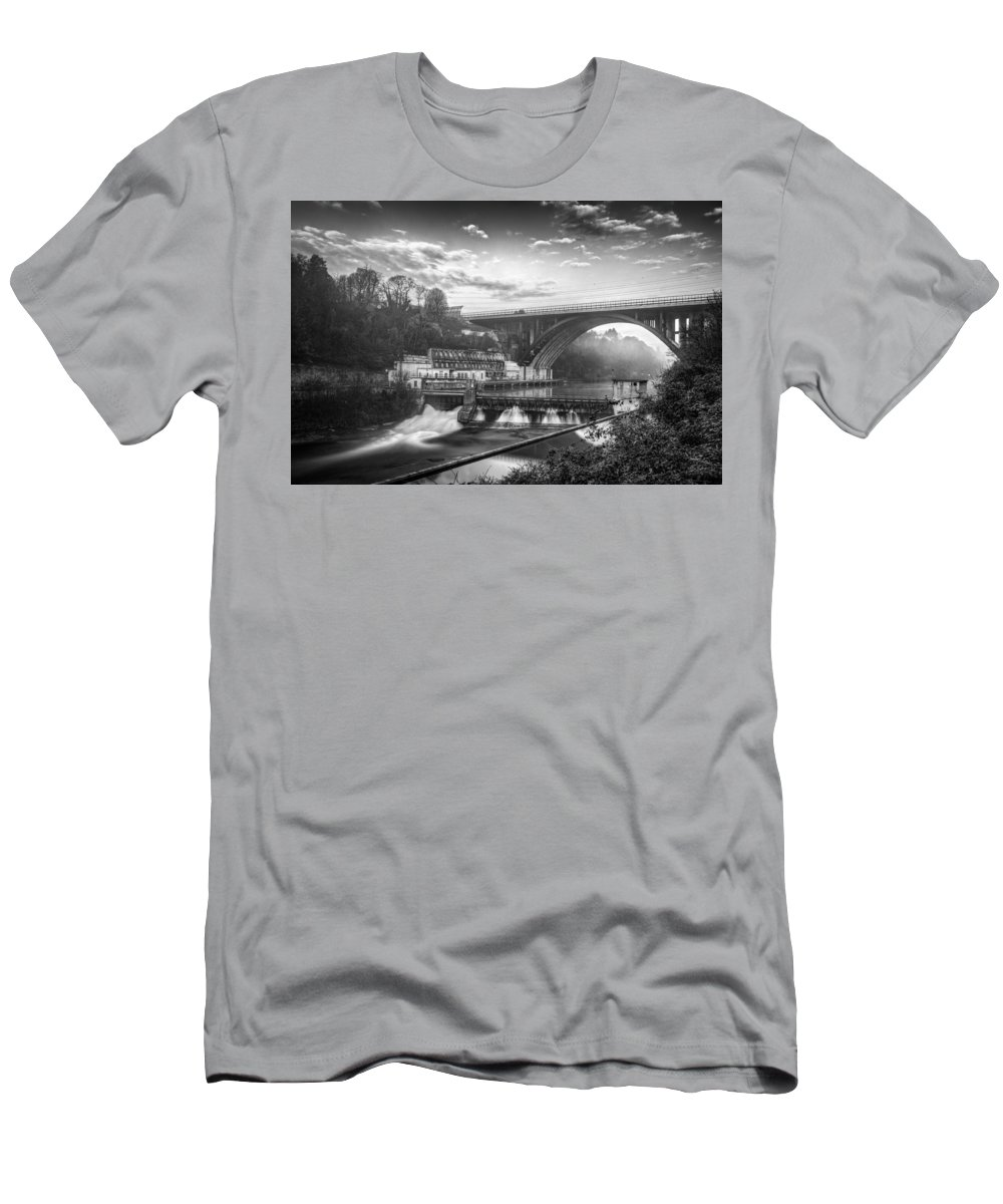 Buildings Men's T-Shirt (Athletic Fit) featuring the photograph Adda Dam by Walter Riboldi