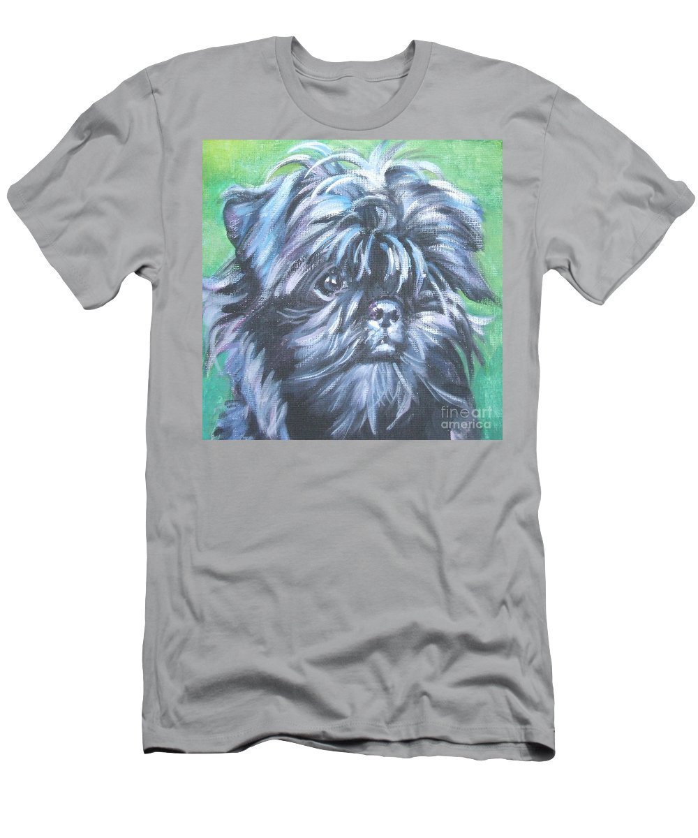 Dog Men's T-Shirt (Athletic Fit) featuring the painting Affenpinscher Portrait by Lee Ann Shepard