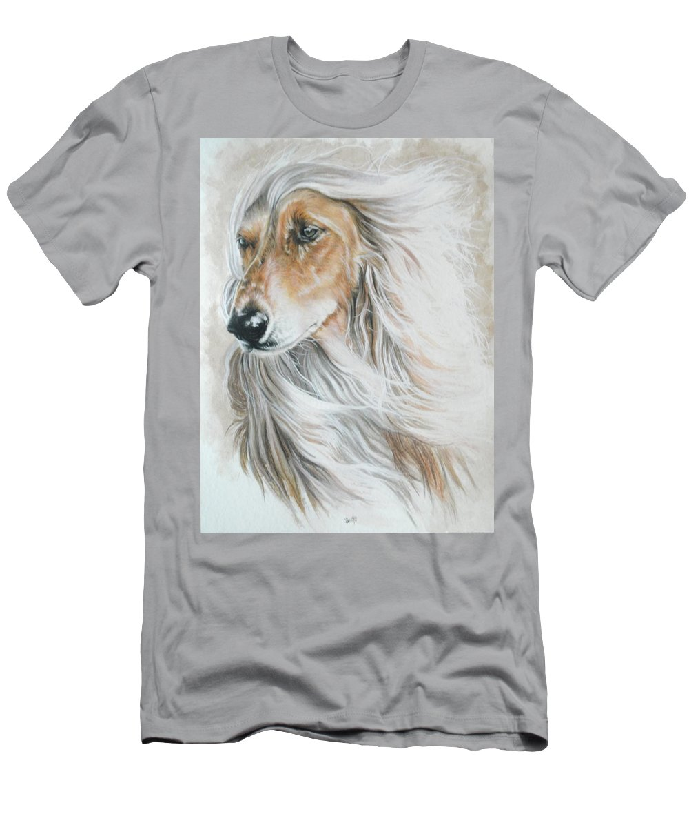 Hound Men's T-Shirt (Athletic Fit) featuring the mixed media Afghan Hound by Barbara Keith