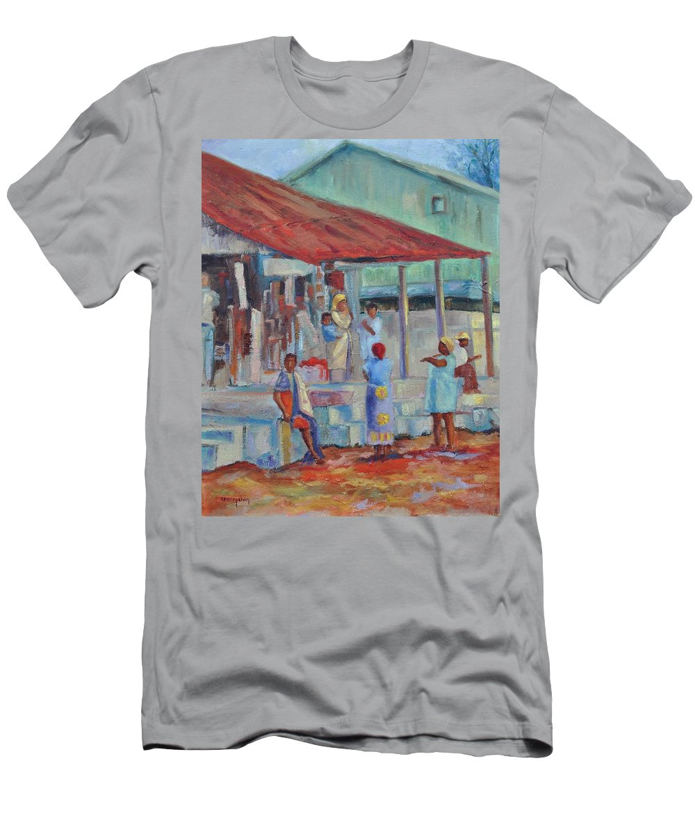 African Market Men's T-Shirt (Athletic Fit) featuring the painting African Market by Ginger Concepcion