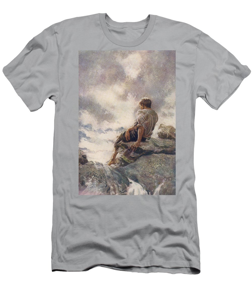 Robinson Men's T-Shirt (Athletic Fit) featuring the drawing After Being Shipwrecked Robinson Crusoe by Vintage Design Pics