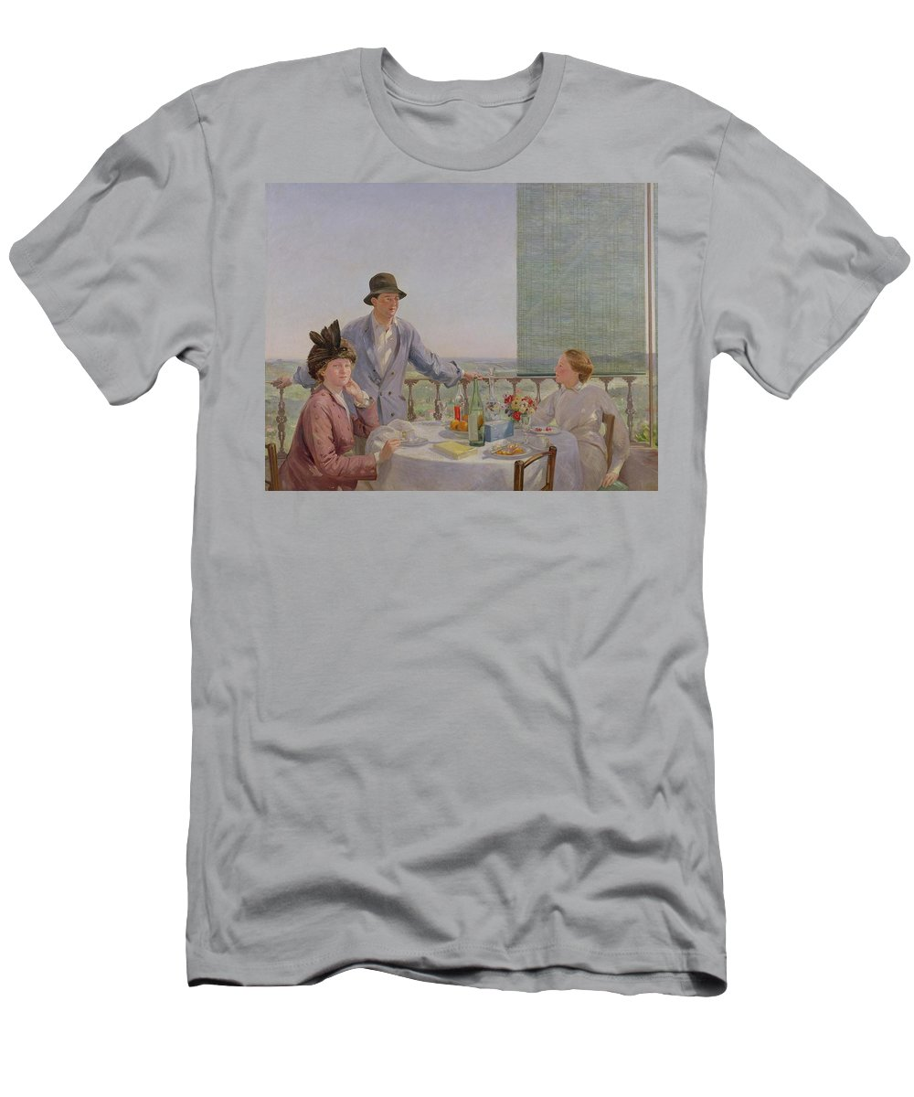 Portrait Men's T-Shirt (Athletic Fit) featuring the painting After Lunch by Gerard Chowne