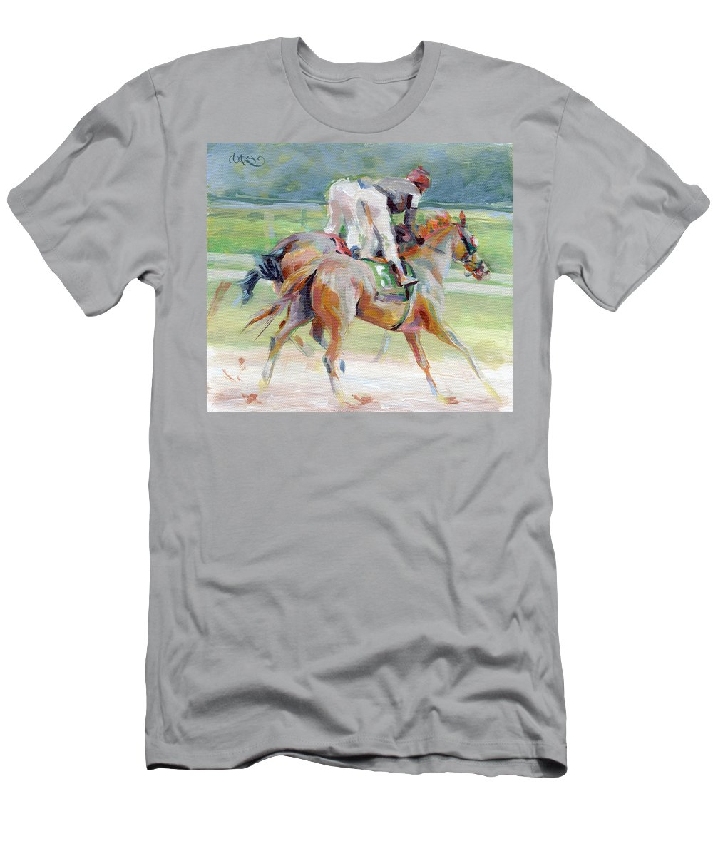 Equine Painting Men's T-Shirt (Athletic Fit) featuring the painting After The Finish by Kimberly Santini