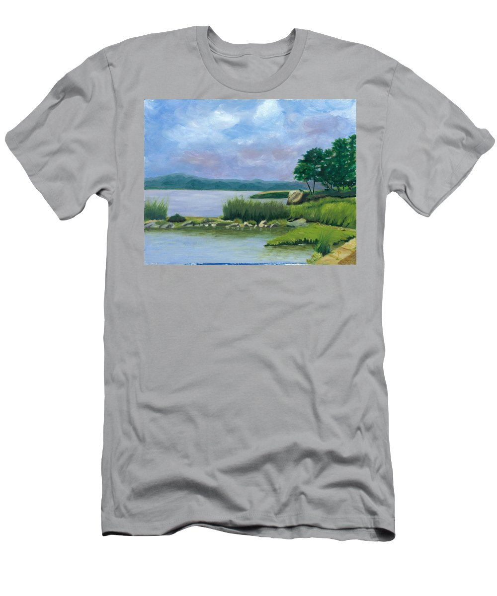 Seascape Men's T-Shirt (Athletic Fit) featuring the painting Afternoon At Pilgrim by Paula Emery