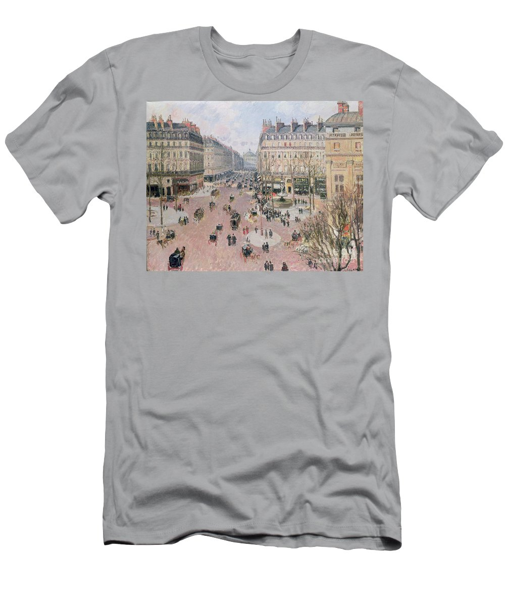 Place Men's T-Shirt (Athletic Fit) featuring the painting Afternoon Sun In Winter by Camille Pissarro