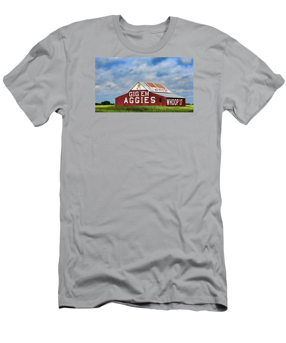 Texas A And M Men's T-Shirt (Athletic Fit) featuring the photograph Aggie Nation Barn by Stephen Stookey