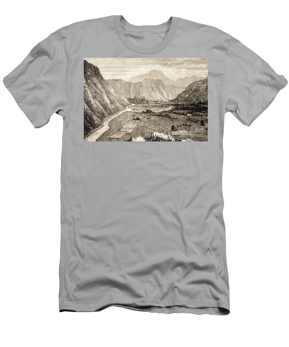 1826 Men's T-Shirt (Athletic Fit) featuring the painting Ahuapuaa Lithograph by Hawaiian Legacy Archive - Printscapes