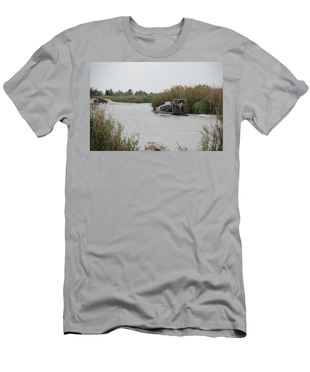 Everglades Men's T-Shirt (Athletic Fit) featuring the photograph Airboat Rides 25 Cents by Rob Hans