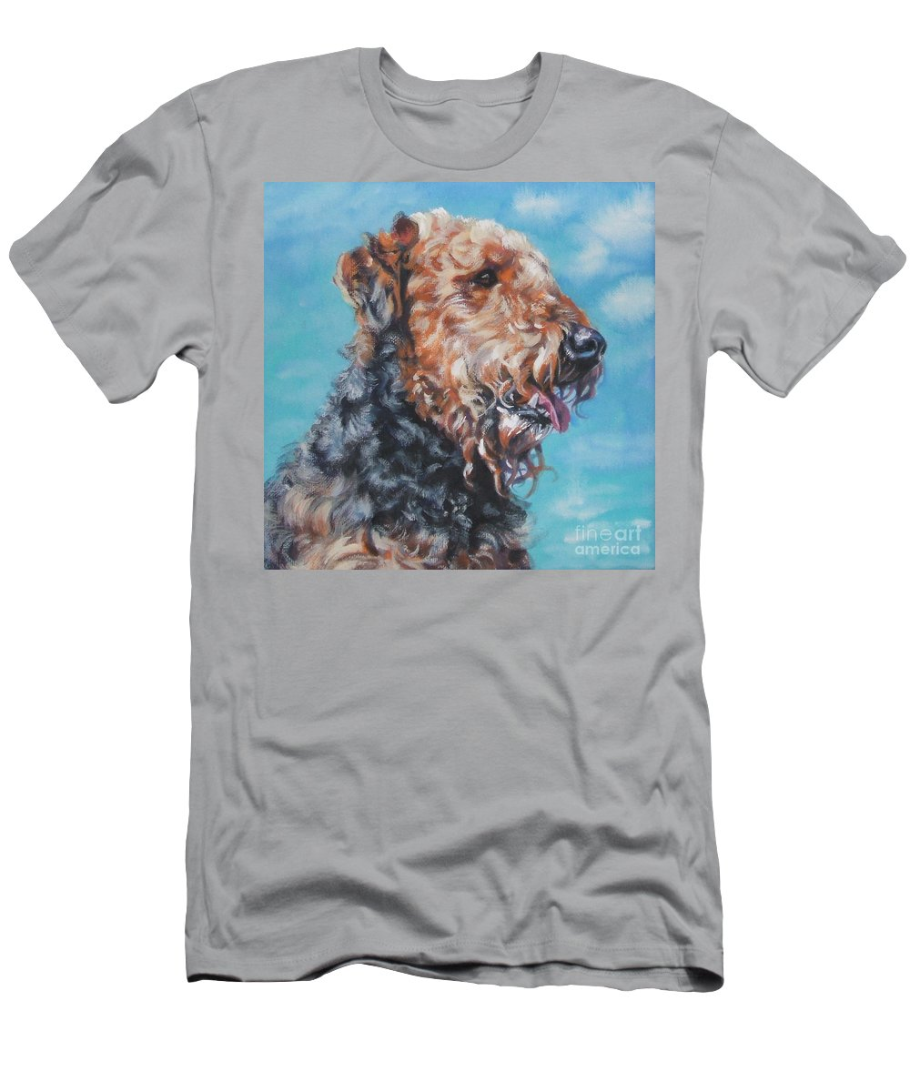 Dog Men's T-Shirt (Athletic Fit) featuring the painting Airedale Terrier by Lee Ann Shepard