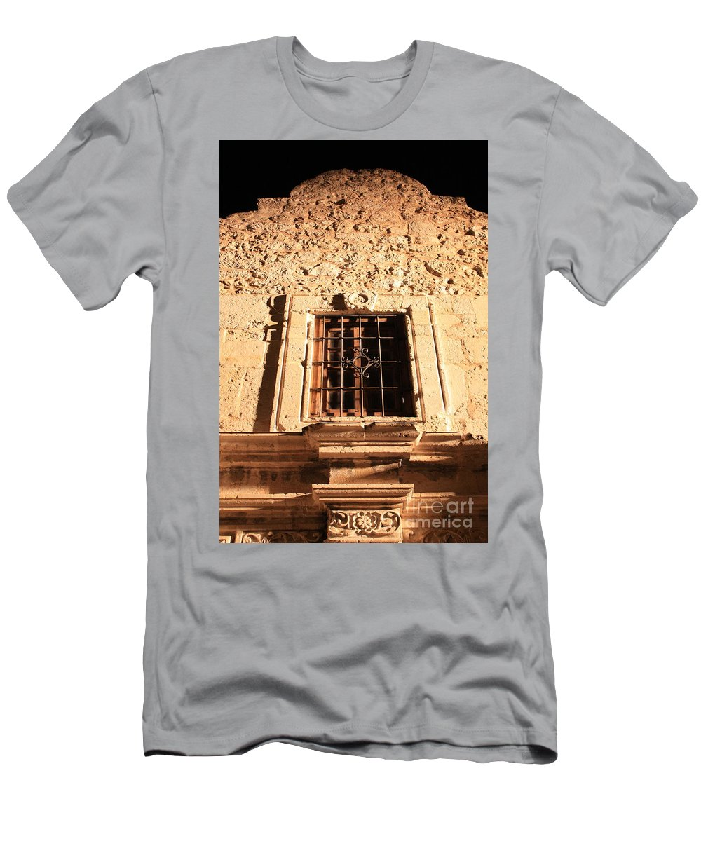 Alamo Men's T-Shirt (Athletic Fit) featuring the photograph Alamo Night Window by Carol Groenen