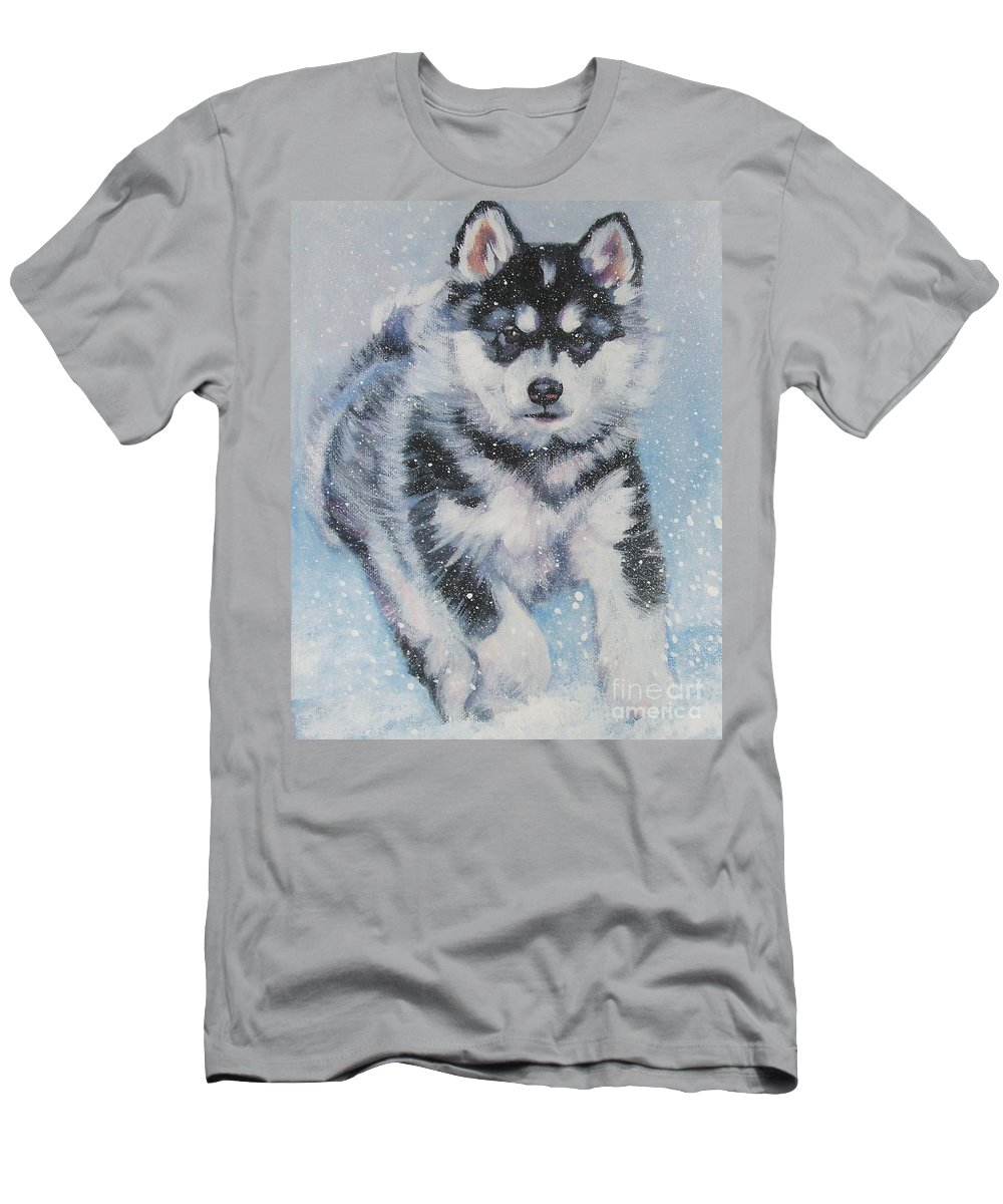 Dog Men's T-Shirt (Athletic Fit) featuring the painting alaskan Malamute pup in snow by Lee Ann Shepard