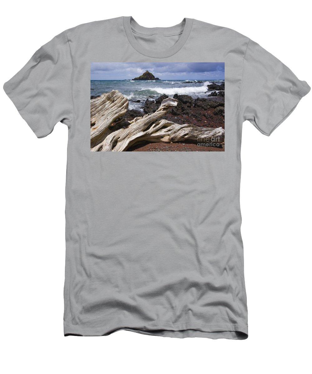 Alau Men's T-Shirt (Athletic Fit) featuring the photograph Alau Islet, Drift Wood by Ron Dahlquist - Printscapes