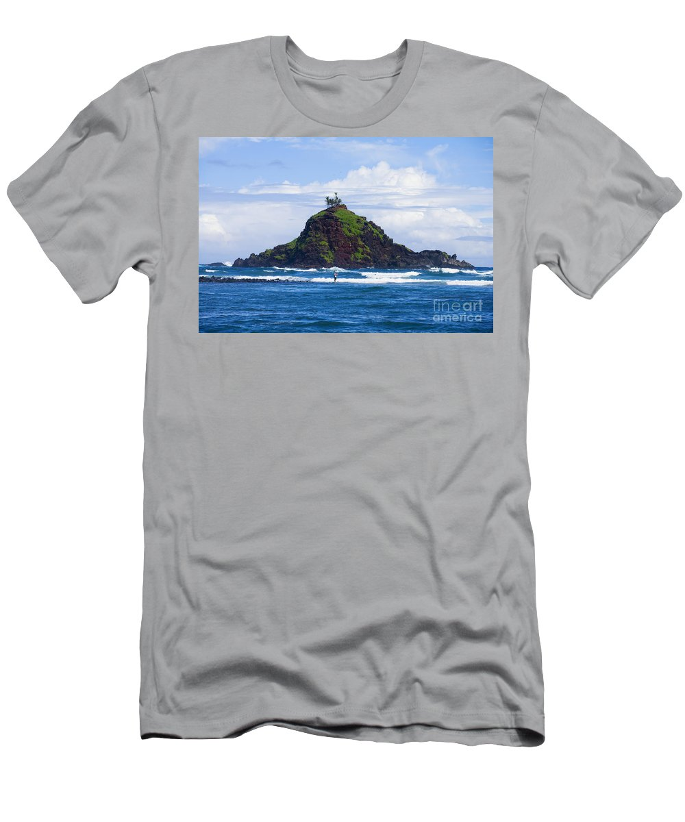 Alau Men's T-Shirt (Athletic Fit) featuring the photograph Alau Islet, Fisherman by Ron Dahlquist - Printscapes