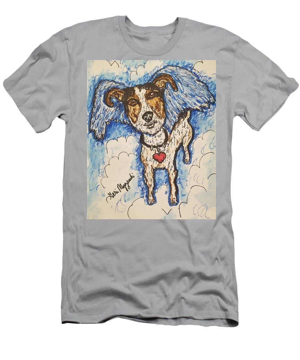 All Dogs Go To Heaven Men's T-Shirt (Athletic Fit) featuring the drawing All Dogs Go To Heaven by Geraldine Myszenski