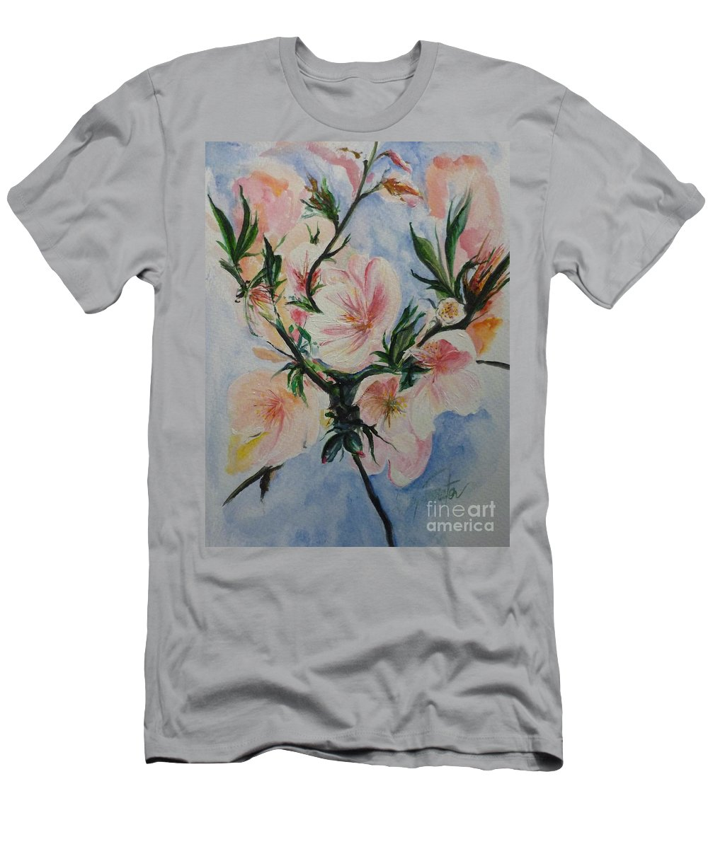 Flowers T-Shirt featuring the painting Almond Blossom by Lizzy Forrester