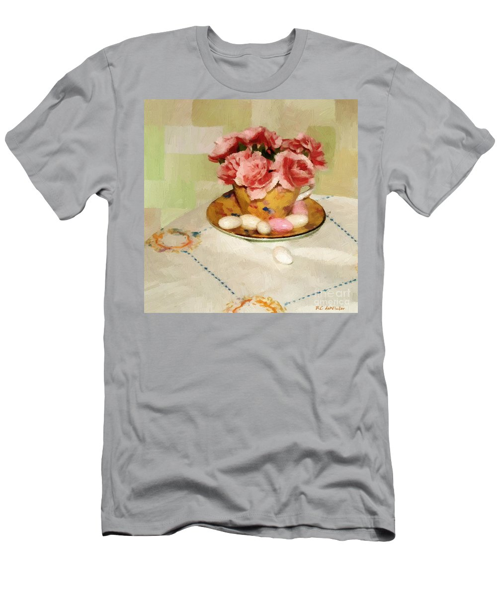 Almonds Men's T-Shirt (Athletic Fit) featuring the painting Almond Blossom Tea by RC DeWinter