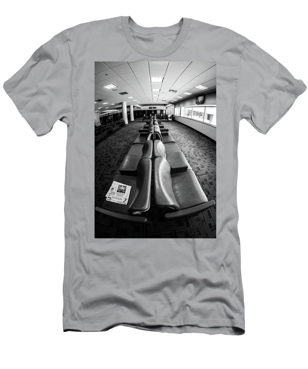 Artisans Men's T-Shirt (Athletic Fit) featuring the photograph Alone At The Airline Gate by Cary Leppert