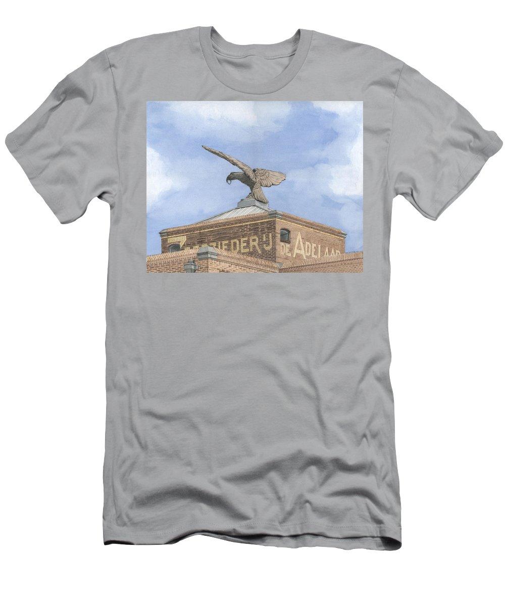 Mixed Media Men's T-Shirt (Athletic Fit) featuring the mixed media Along The River Zaan Zeepziederij De Adelaar by Rob De Vries