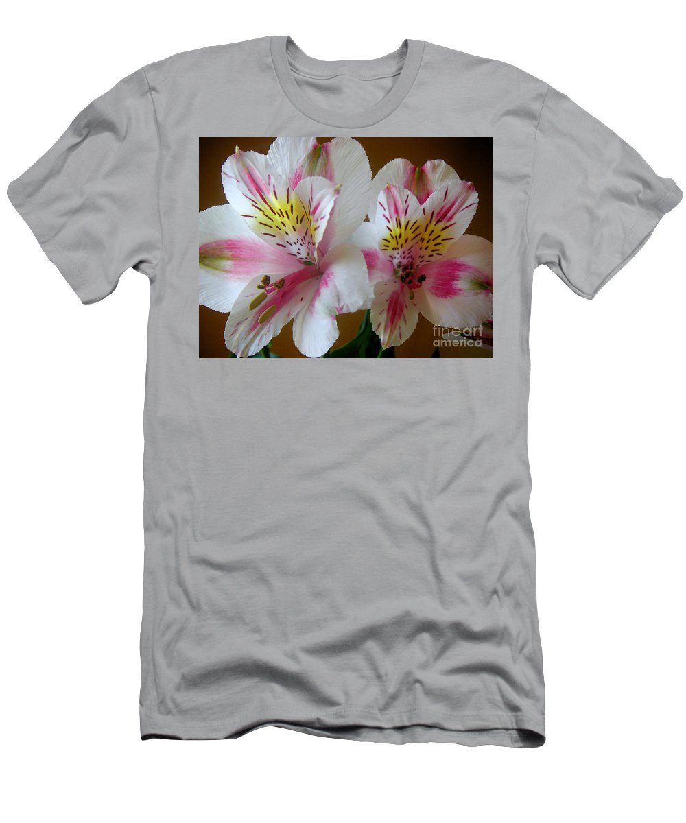 Nature Men's T-Shirt (Athletic Fit) featuring the photograph Alstroemerias - Heralding by Lucyna A M Green