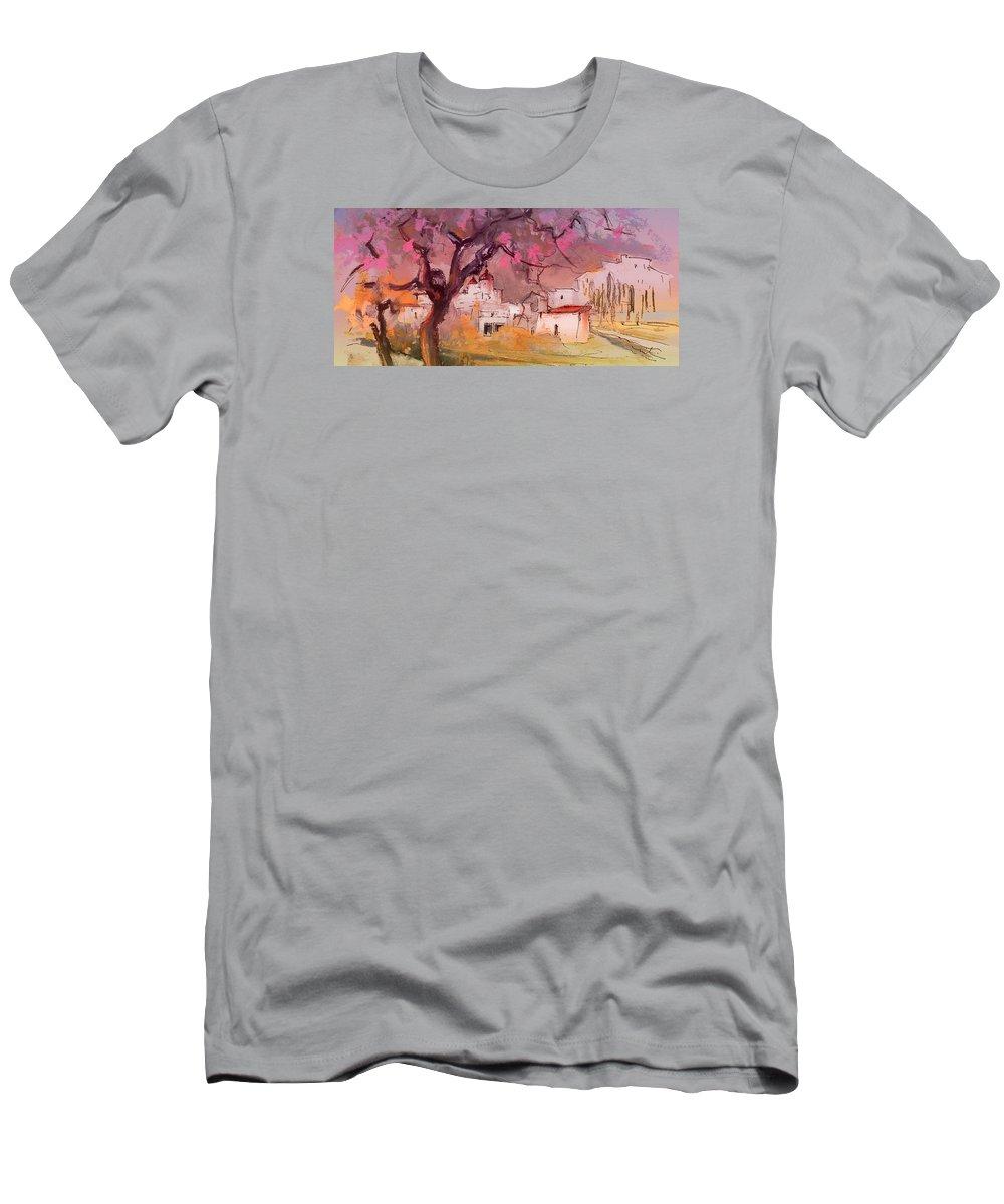 Spain Men's T-Shirt (Athletic Fit) featuring the painting Altea La Vieja In Spain 18 by Miki De Goodaboom