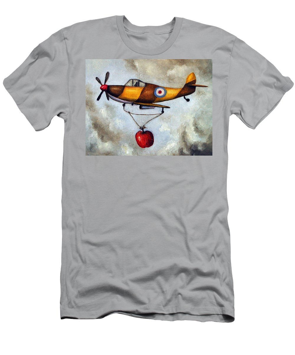 Plane Men's T-Shirt (Athletic Fit) featuring the painting Amazing Race 4 by Leah Saulnier The Painting Maniac