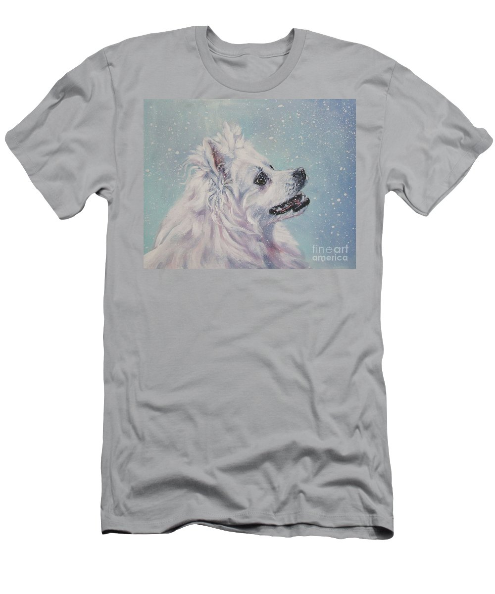 Dog Men's T-Shirt (Athletic Fit) featuring the painting American Eskimo Dog In Snow by Lee Ann Shepard