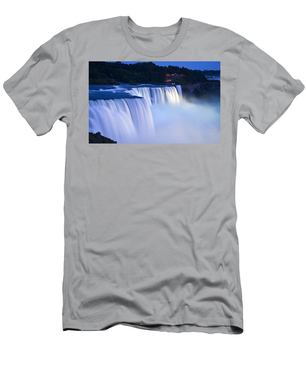 American Falls Photography Prints Men's T-Shirt (Athletic Fit) featuring the photograph American Falls Niagara Falls by Loriannah Hespe