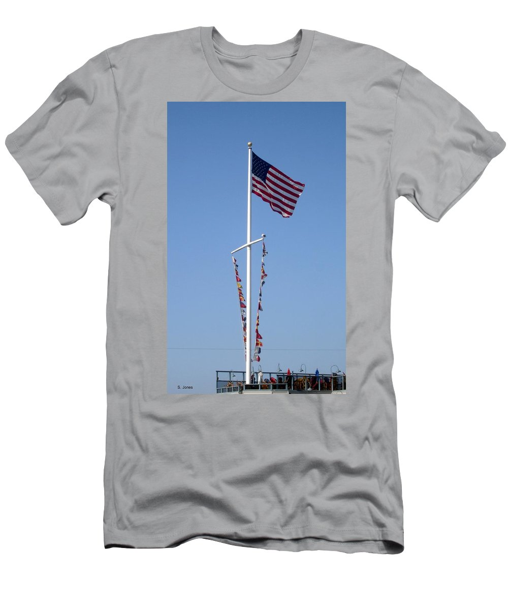 American Flag Men's T-Shirt (Athletic Fit) featuring the photograph American Flag by Shelley Jones