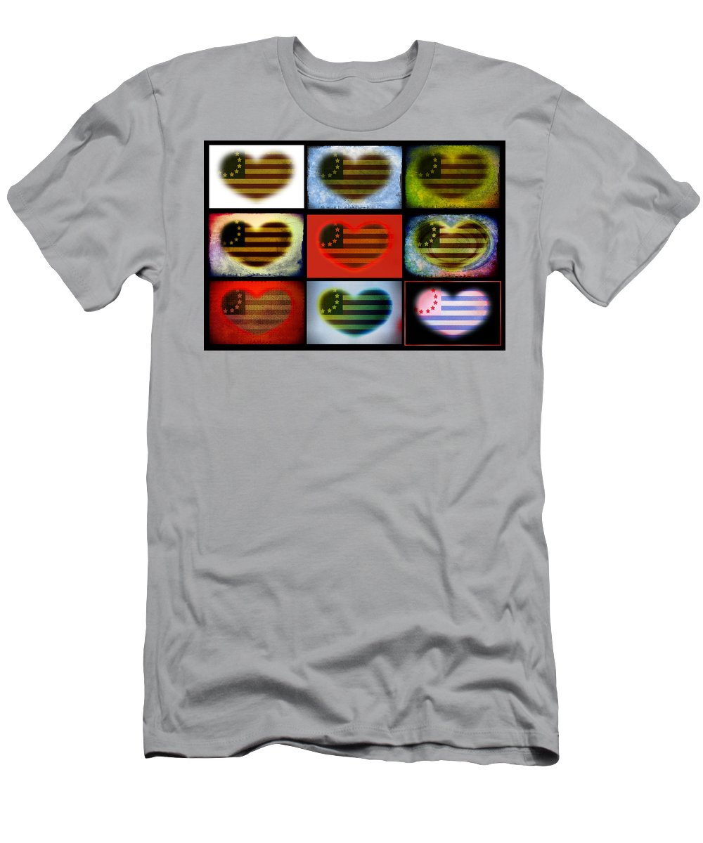 Flag Men's T-Shirt (Athletic Fit) featuring the photograph American Hearts by Bill Cannon
