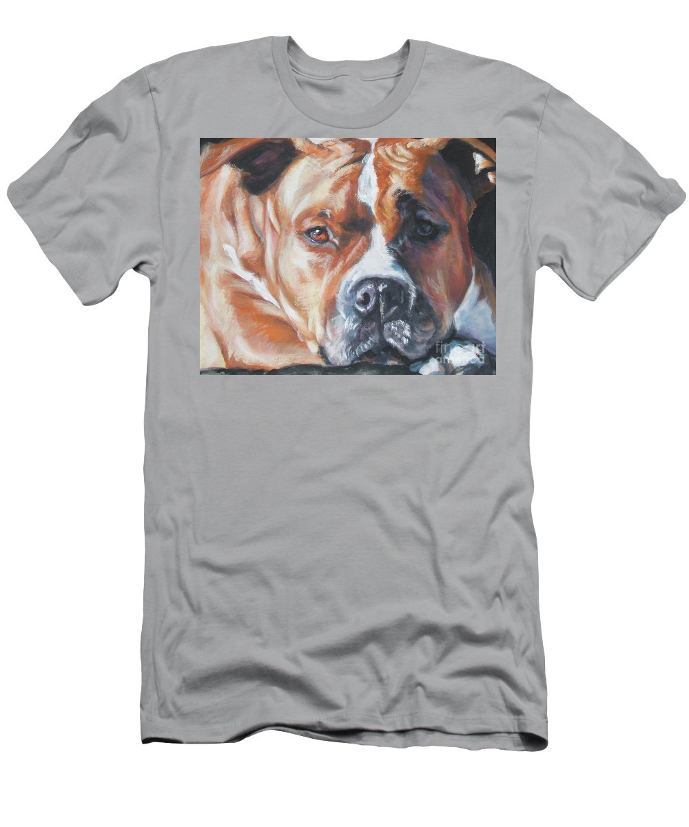 Dog Men's T-Shirt (Athletic Fit) featuring the painting American Staffordshire Terrier by Lee Ann Shepard