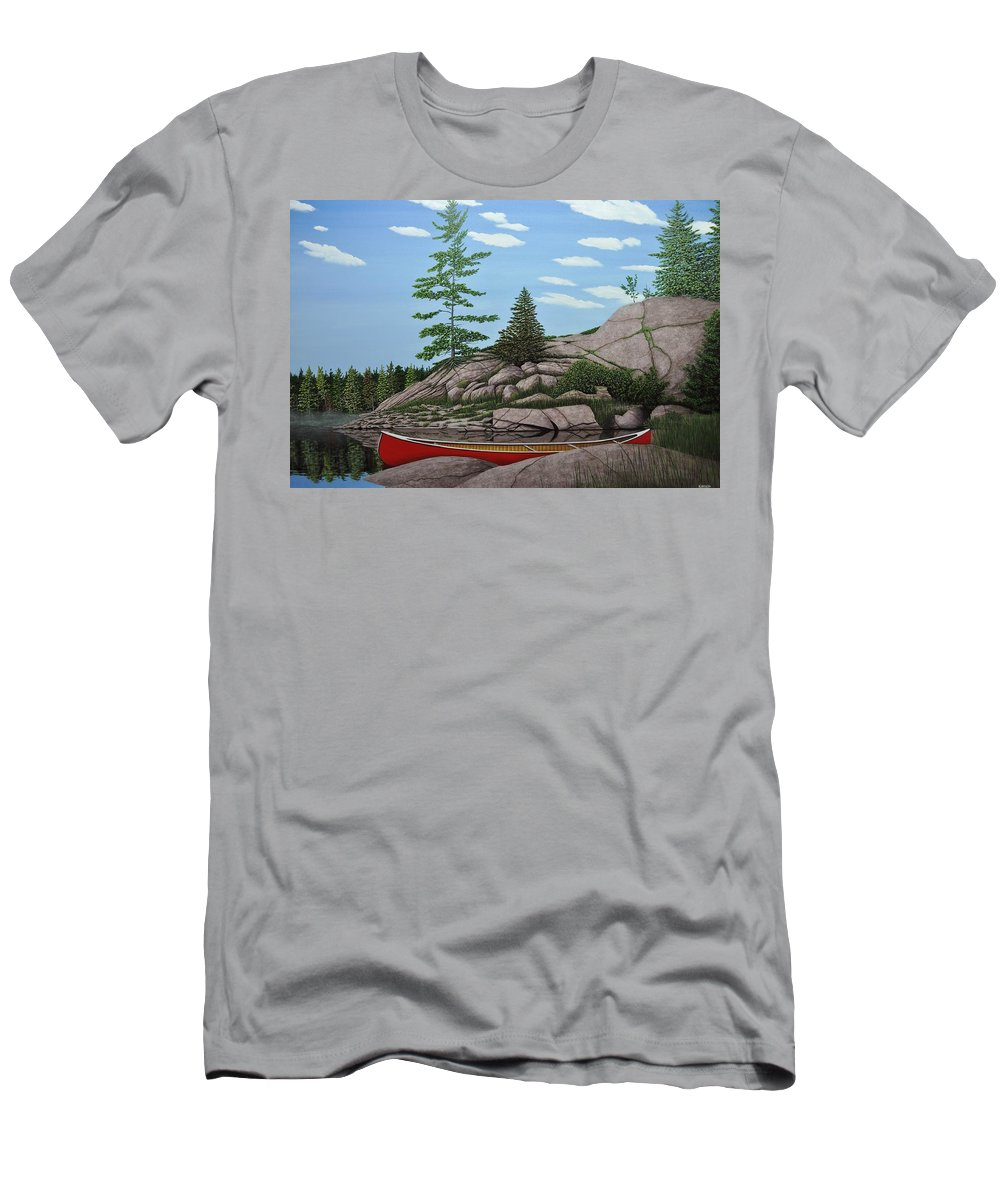 Canoes Men's T-Shirt (Athletic Fit) featuring the painting Among The Rocks II by Kenneth M Kirsch