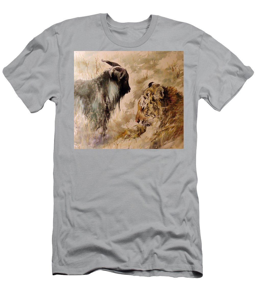 Amur And Timur Men's T-Shirt (Athletic Fit) featuring the painting Amur And Timur by Alexa Nelipa