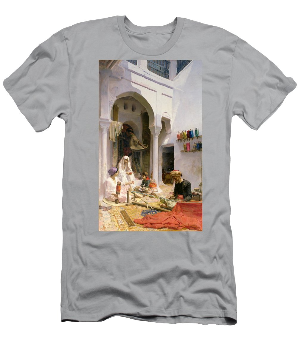Arab Men's T-Shirt (Athletic Fit) featuring the painting An Arab Weaver by Armand Point