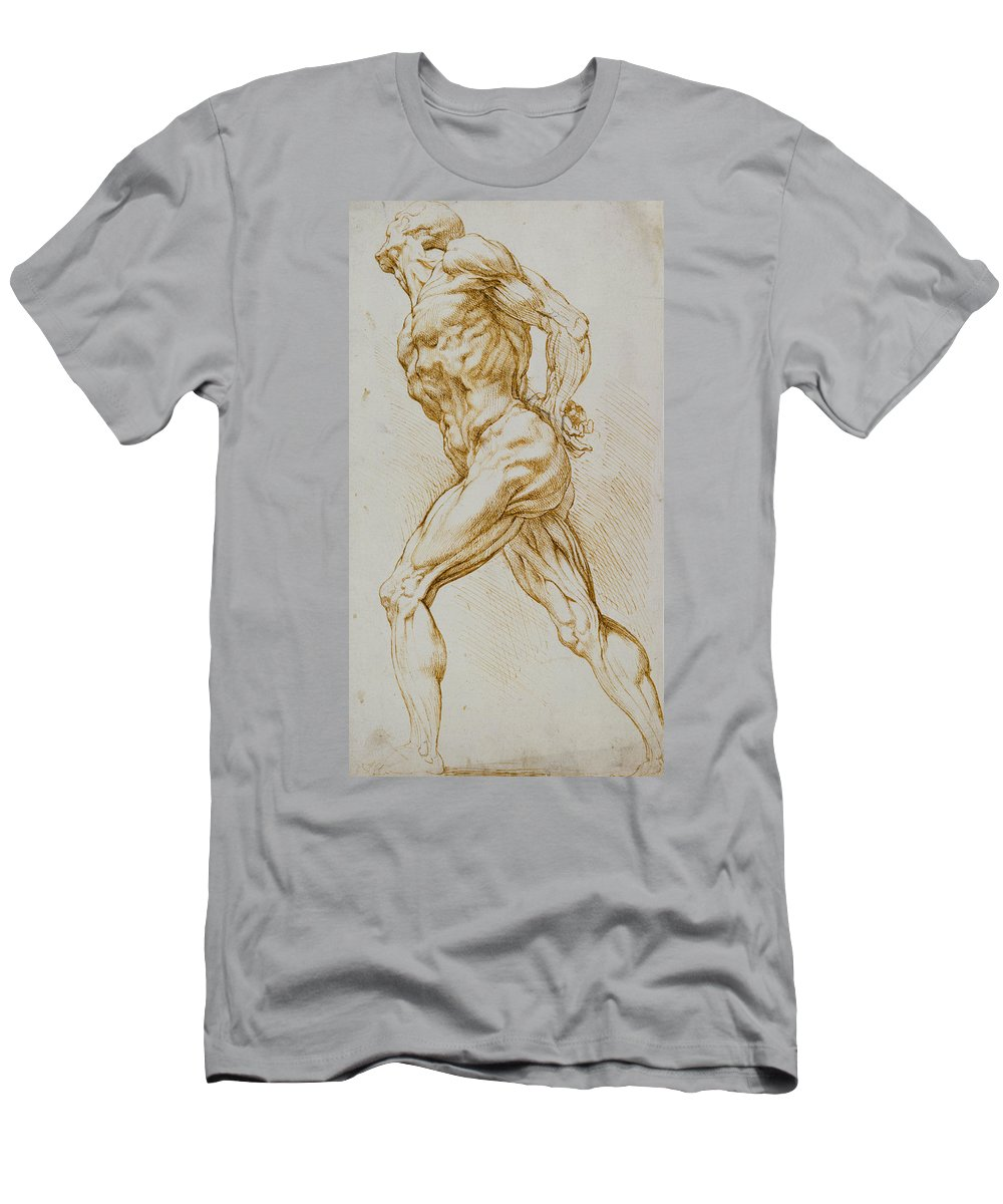 Rubens Men's T-Shirt (Athletic Fit) featuring the drawing Anatomical Study by Rubens