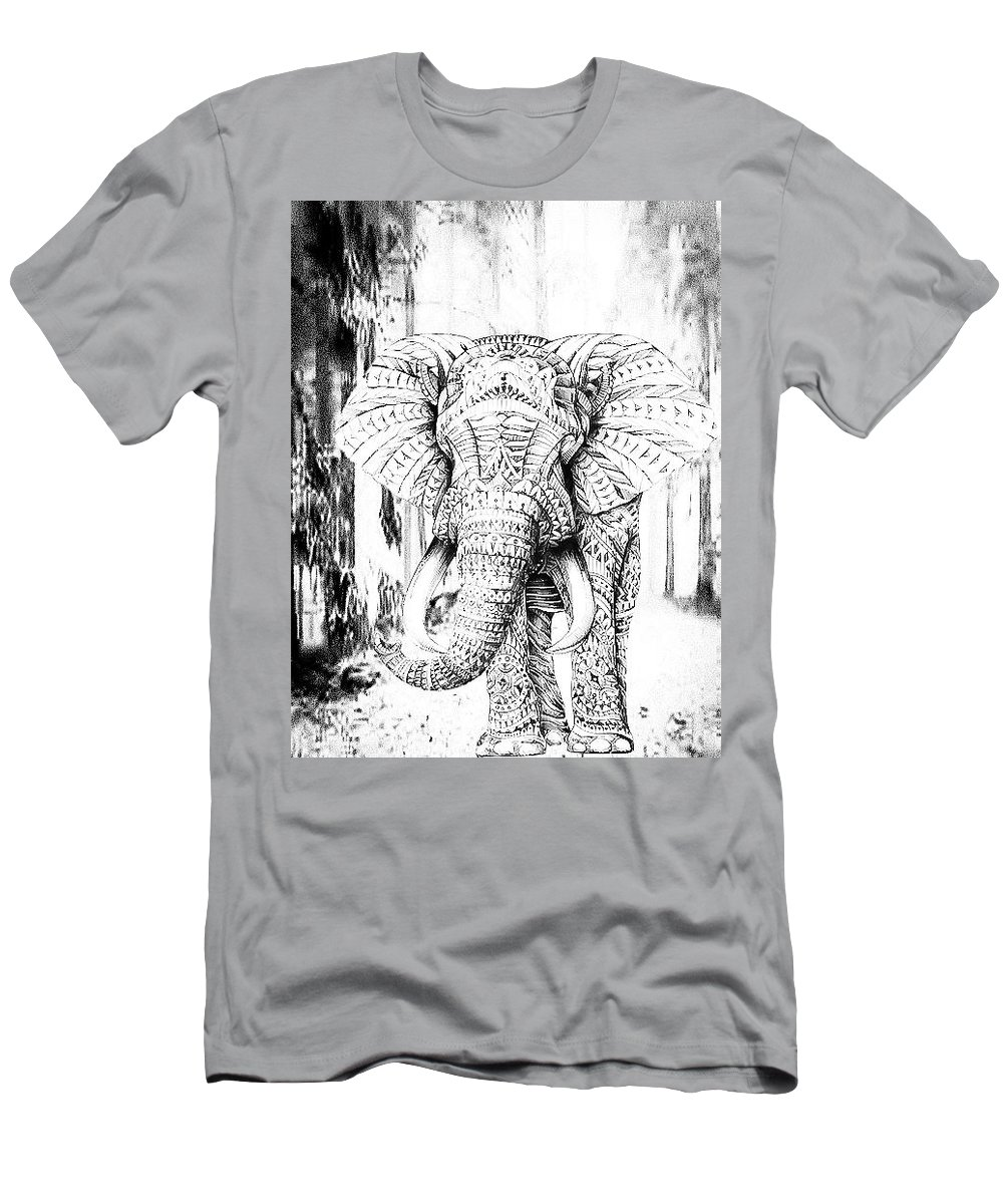 Elephant Men's T-Shirt (Athletic Fit) featuring the digital art Ancient Elephant by Pawan Bakshi