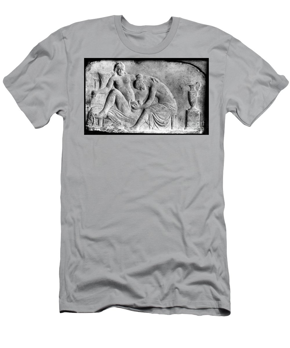 Historic Men's T-Shirt (Athletic Fit) featuring the photograph Ancient Roman Relief Carving Of Midwife by Wellcome Images