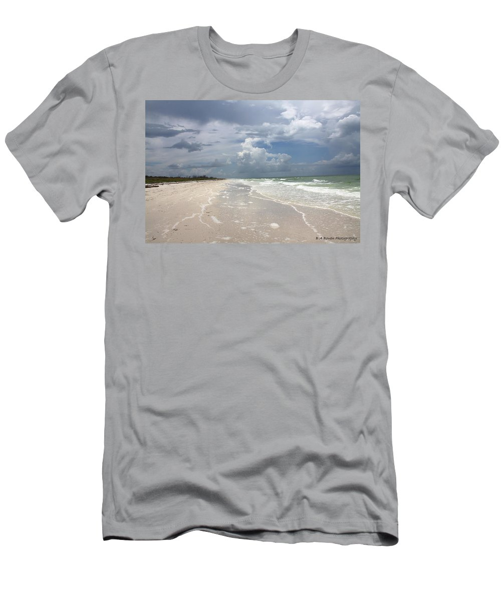 Beach Men's T-Shirt (Athletic Fit) featuring the photograph Anclote Key Beach by Barbara Bowen