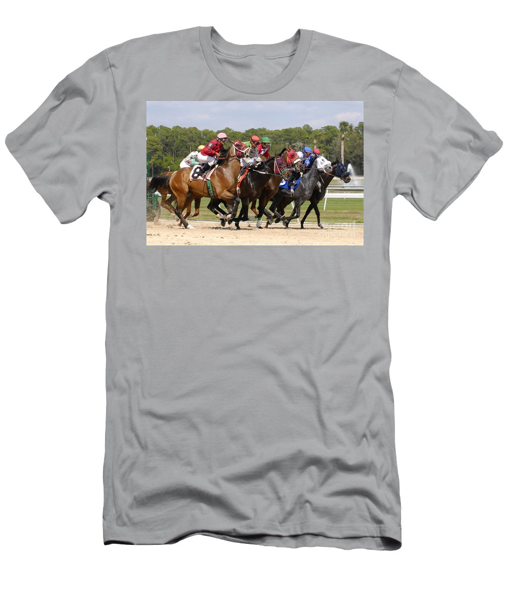 Horse Racing Men's T-Shirt (Athletic Fit) featuring the photograph And Their Off by David Lee Thompson