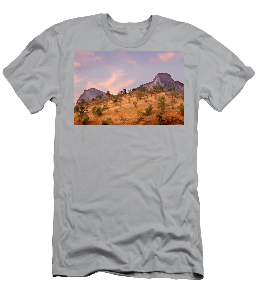 Andalucia Men's T-Shirt (Athletic Fit) featuring the photograph Andalucian Landscape Near Zahara De La Sierra Spain by Mal Bray