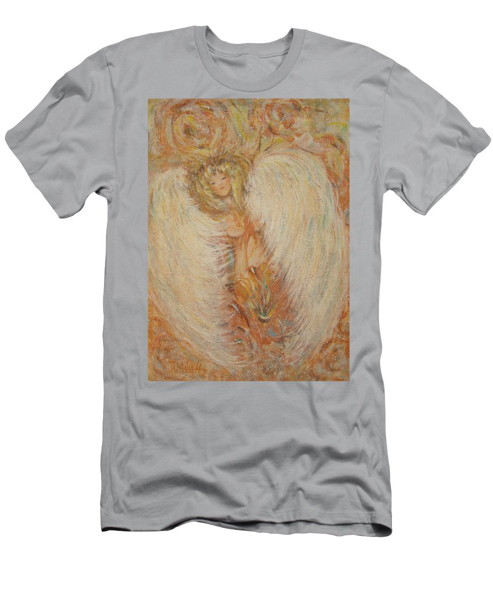 Angel Men's T-Shirt (Athletic Fit) featuring the painting Angel Loves You by Natalie Holland