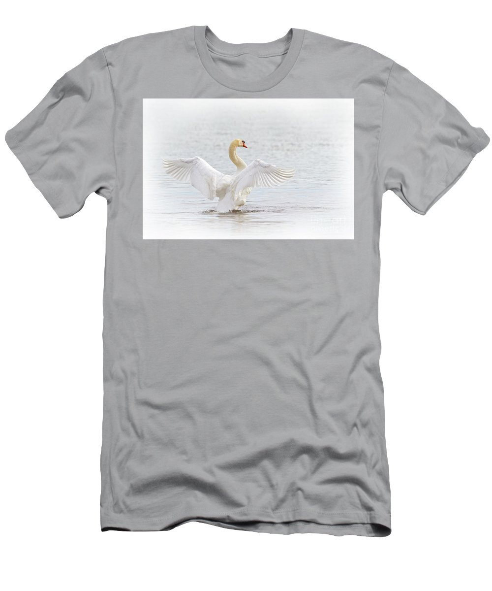 Mute Swan Men's T-Shirt (Athletic Fit) featuring the photograph Swan Angel Wings I by Karen Jorstad