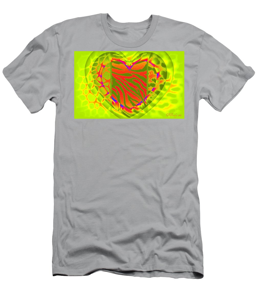 Hearts Men's T-Shirt (Athletic Fit) featuring the digital art Animal Prints 2 by Donna Bentley
