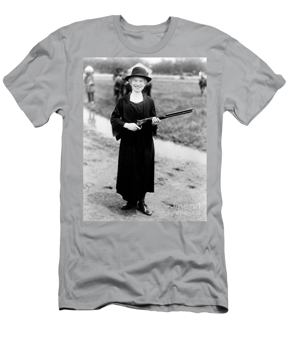 History Men's T-Shirt (Athletic Fit) featuring the photograph Annie Oakley, American Folk Hero by Science Source