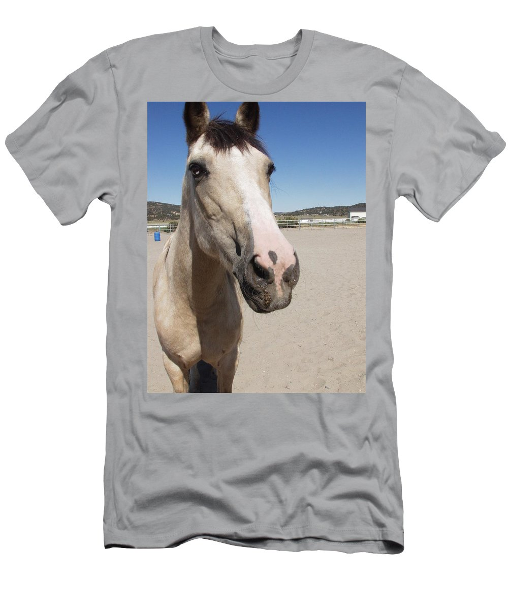 Horses Men's T-Shirt (Athletic Fit) featuring the photograph Any Carrots by Jamey Balester